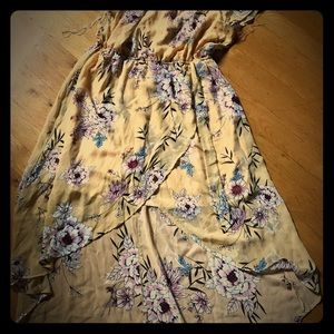 Nwt maurices yellow floral high low dress large